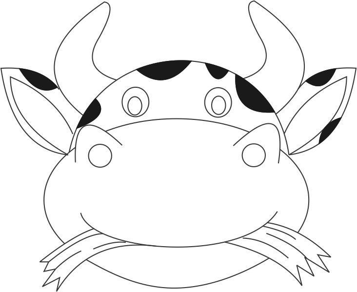 732x599 Printable Cow Mask Template Cow Face Coloring Page