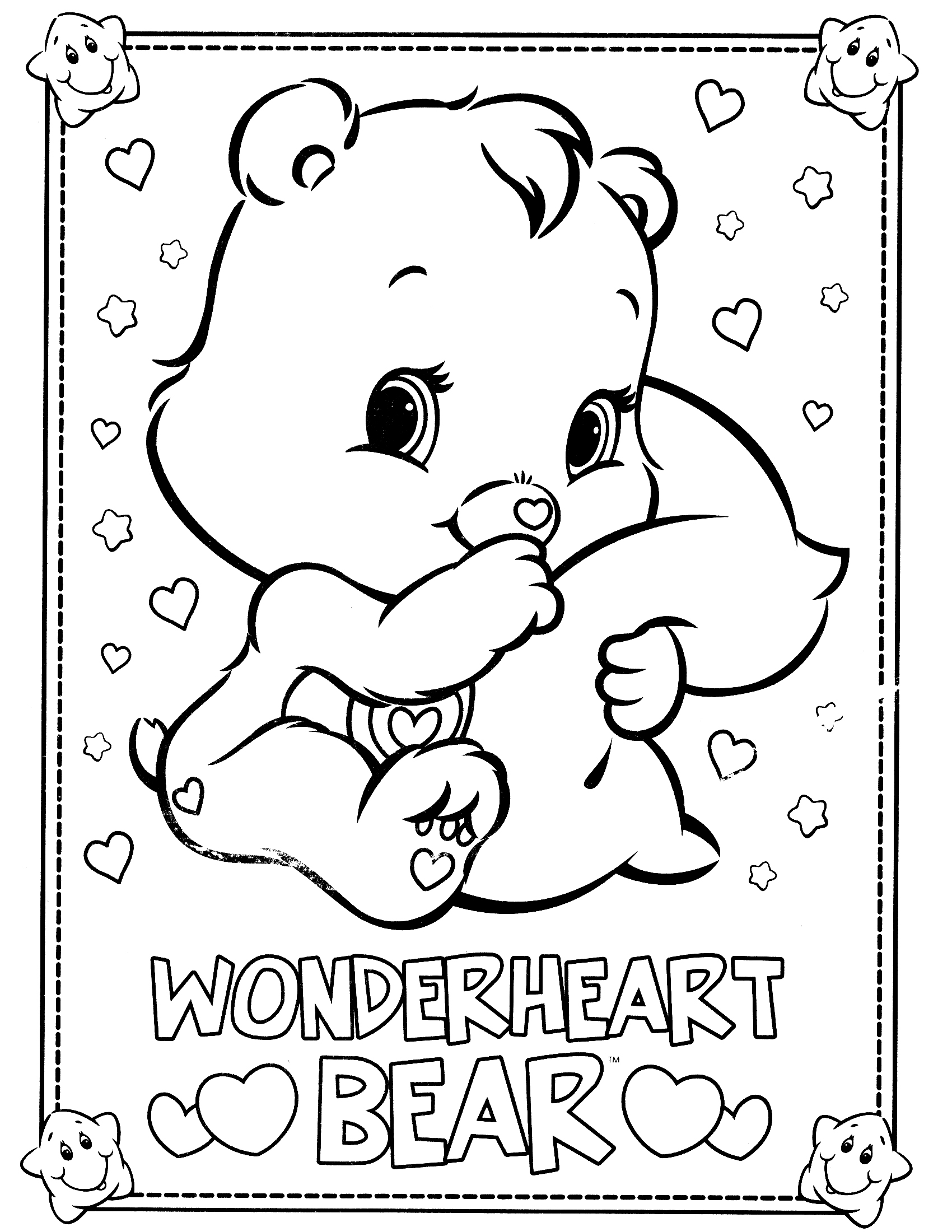 1700x2200 Care Bears Coloring Pages