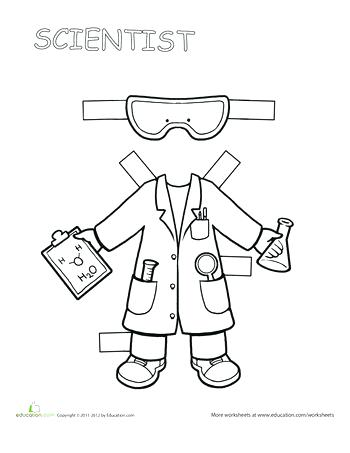 350x453 Career Day Coloring Pages Career Paper Dolls Scientist Career Best