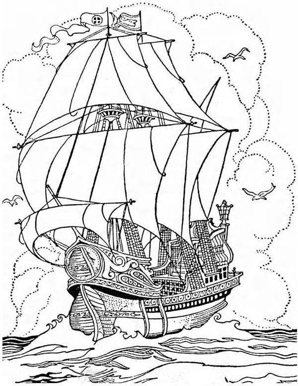 600x776 Pirate Ship, A Big Pirate Ship Galleon Coloring Page Coloring