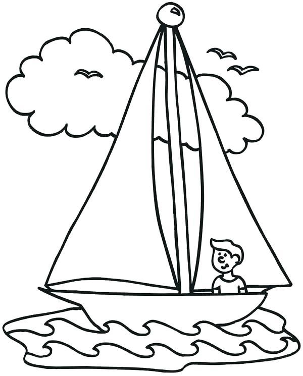 600x745 Boat Coloring Pages Coloring Boat Coloring Pages A Boy Waving His