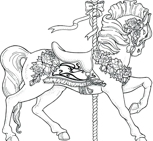 650x600 Carousel Coloring Page Circus And Carnival Beautiful Carousel