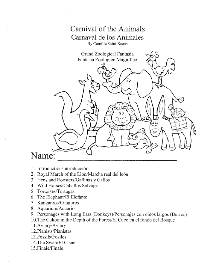 722x934 Carnival Of The Animals Worksheet Packet