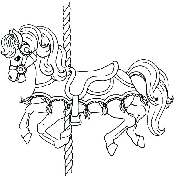 600x609 Carousel Coloring Pages Race Horse Coloring Pages Carousel