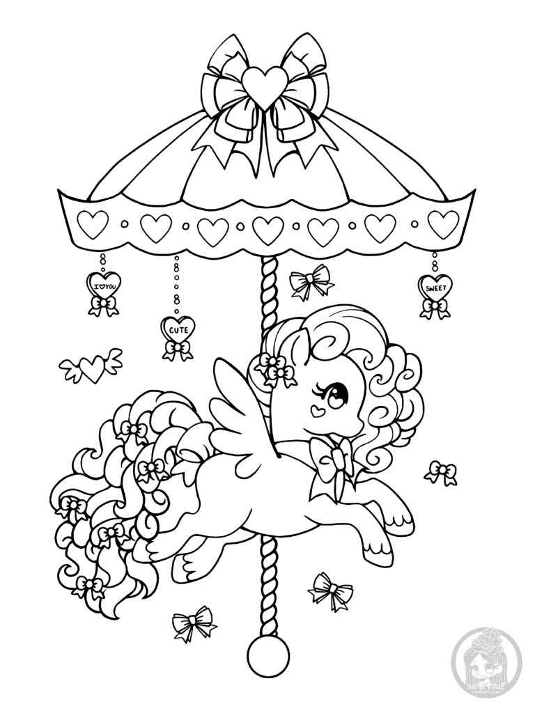 768x1024 Carousel Coloring Pages Valentines Day Pony Lineart Yampuff