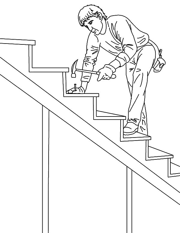 600x776 Carpenter Fixing Stair On Jobs Coloring Pages Batch Coloring