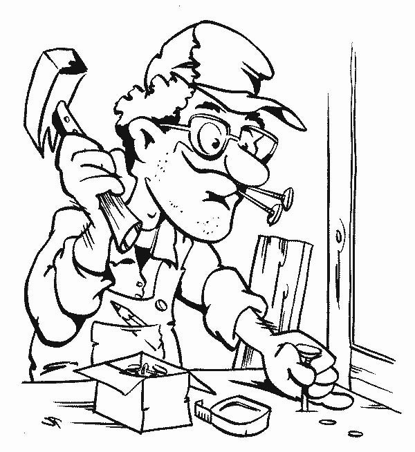 600x654 Carpenter Making A Table In Community Helpers Coloring Page