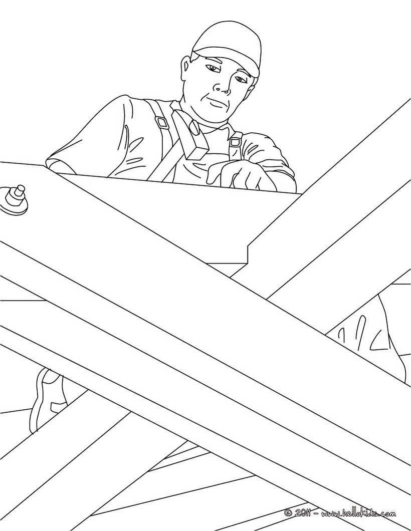 820x1060 Carpenter On A Roof Sturcture Coloring Pages