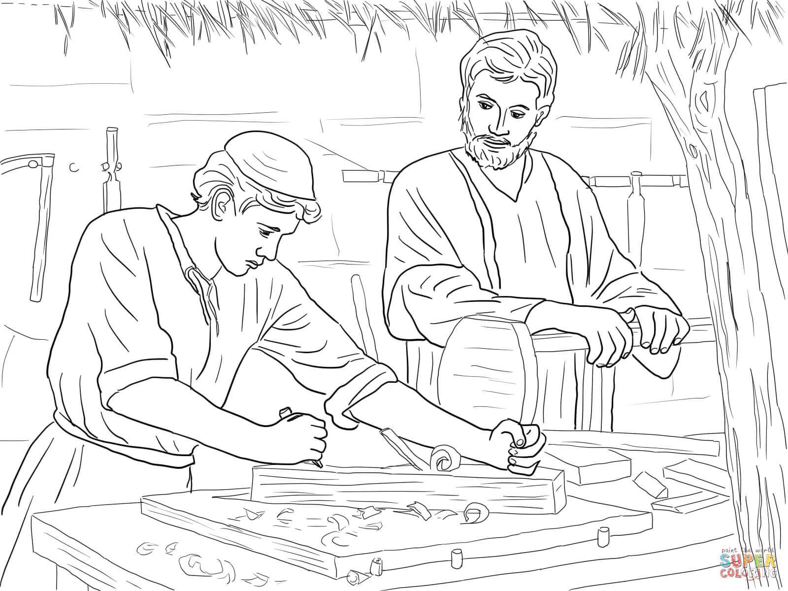1600x1200 Appealing Jesus Christ The Son Of A Carpenter Coloring Page