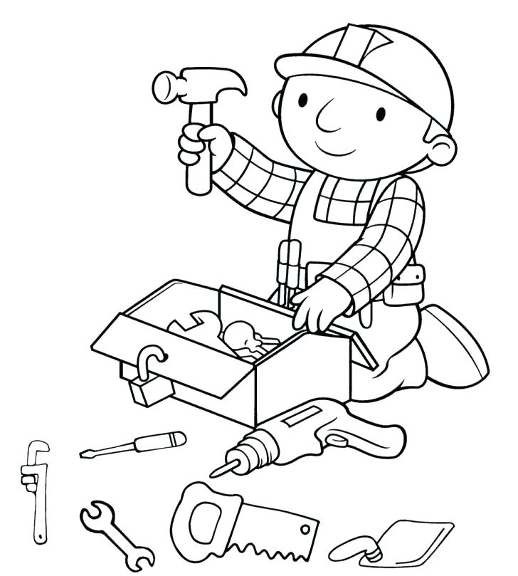 728x809 Coloring Pages Of Tools Tools Coloring Pages Bob The Builder
