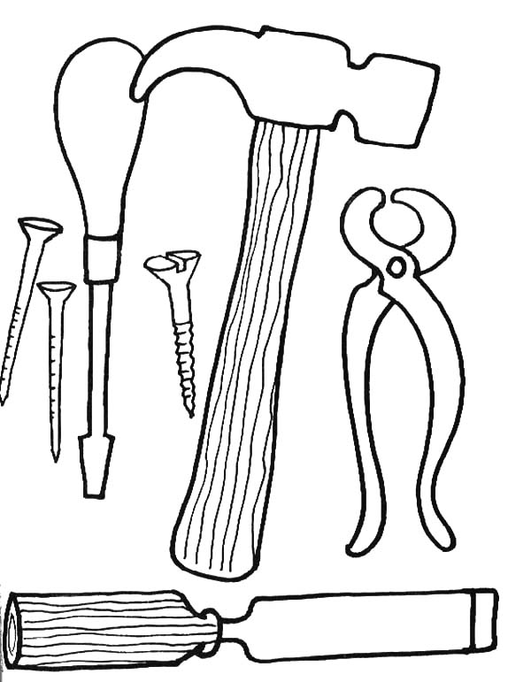 600x771 Printable Tools Coloring Pages