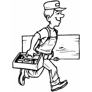 300x300 Walking Carpenter With Instruments Coloring Page