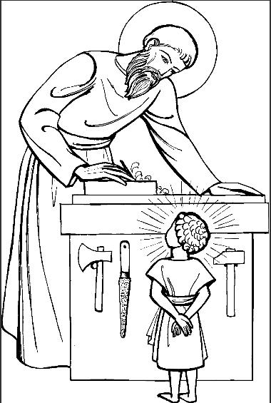 380x565 Coloring Page St Joseph Child Jesus Carpenter Shop Religion