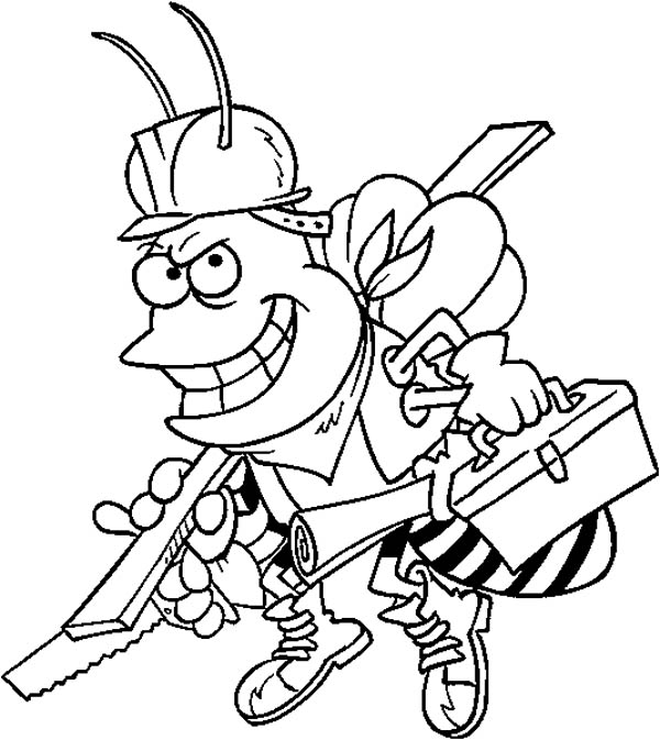 600x673 Bumblebee As Carpenter Coloring Page