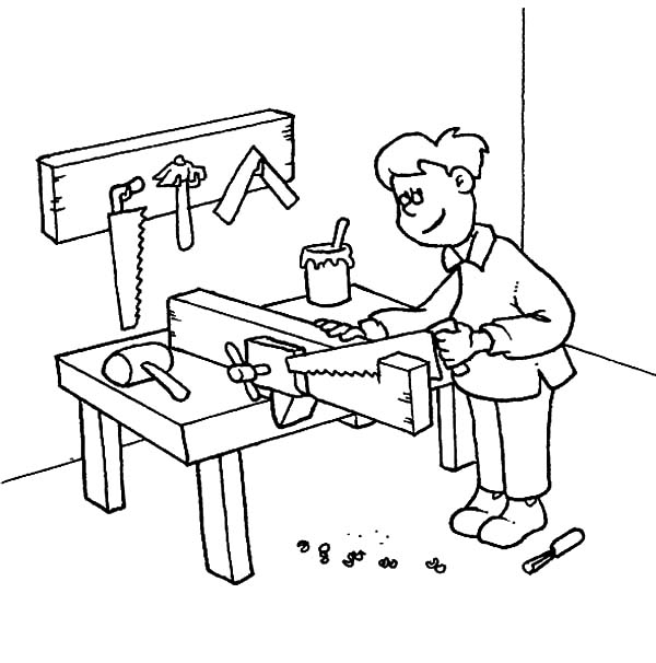 600x606 Carpenter Coloring Pages