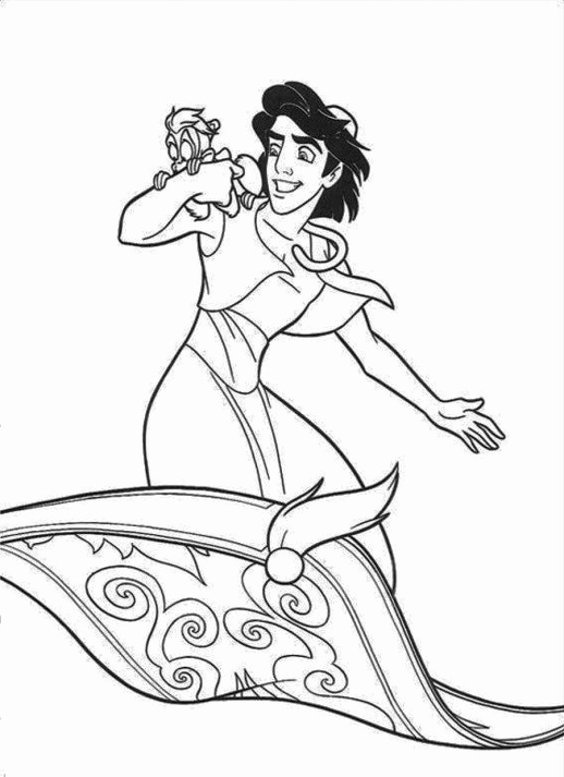 518x713 Abu Coloring Pages Photograph Genie Saves Aladdin Jasmine Abu
