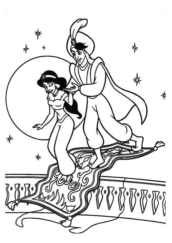595x842 Jasmine Coloring Pages With Aladdin On Flying Carpet
