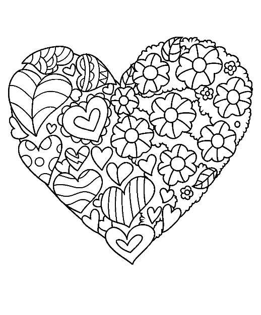 518x626 Hearts Love Coloring Pages