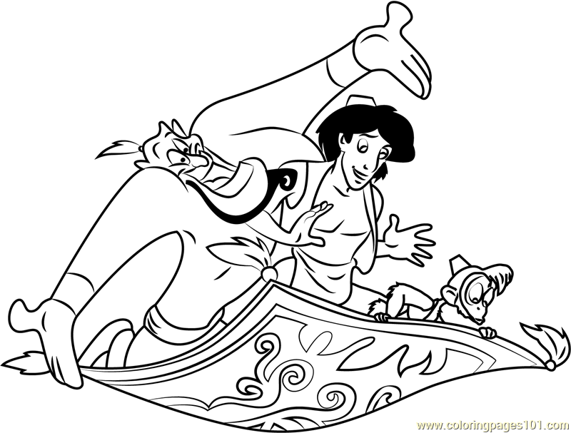 800x607 Aladdin Genie Abu On Carpet Coloring Page