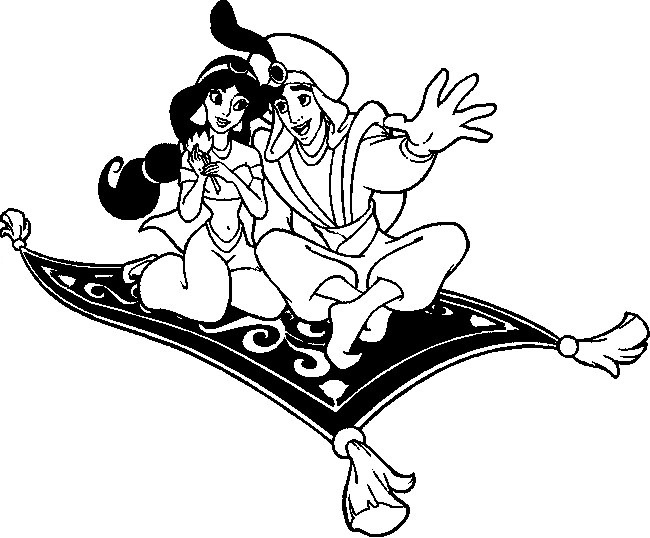 650x538 Aladdin And Jasmine On Magic Carpet Coloring Pages