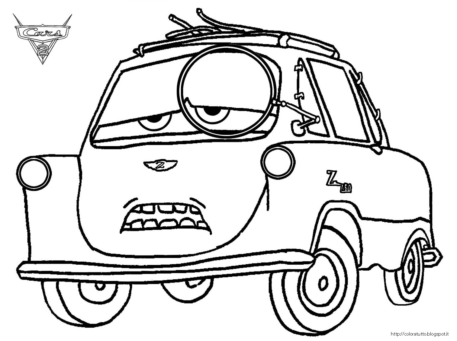 1513x1130 Cars Coloring Pages Cars Professor Z Coloring Pages Kids