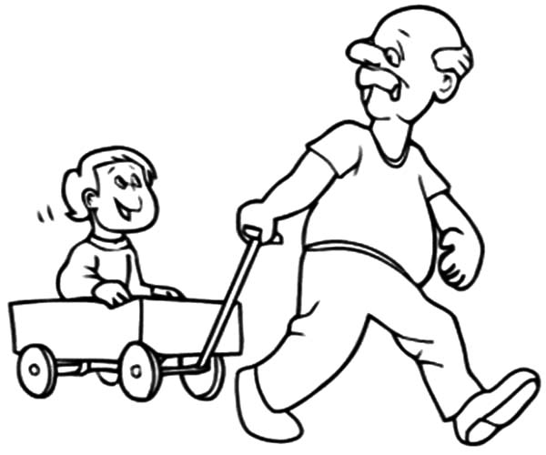600x500 Grandfather Pulling Me On Cart Coloring Pages Color Luna