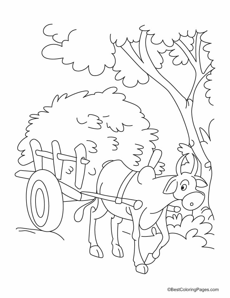 738x954 Horse And Cart Coloring Page