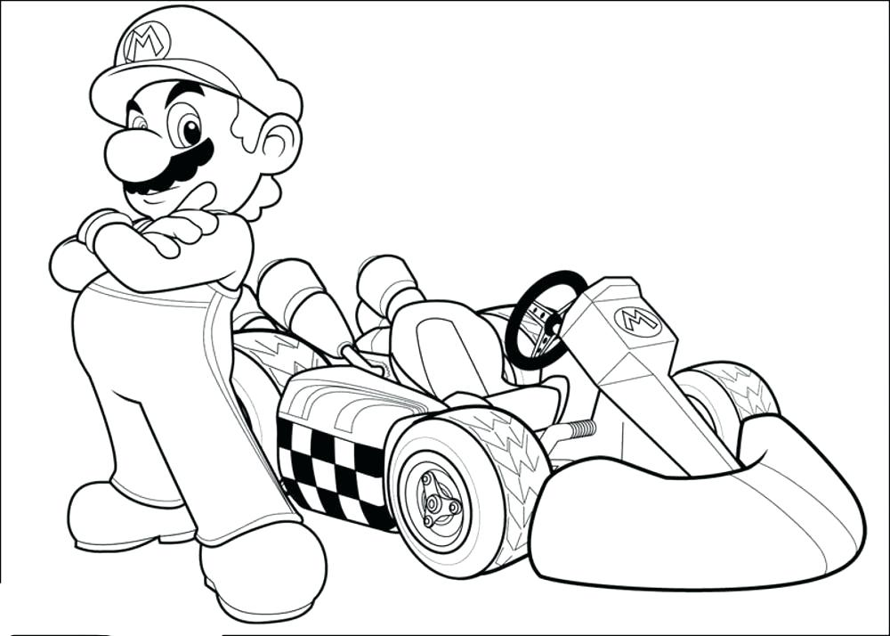 1000x714 Mario Cart Coloring Pages Print Download Kart Coloring Pages Mario