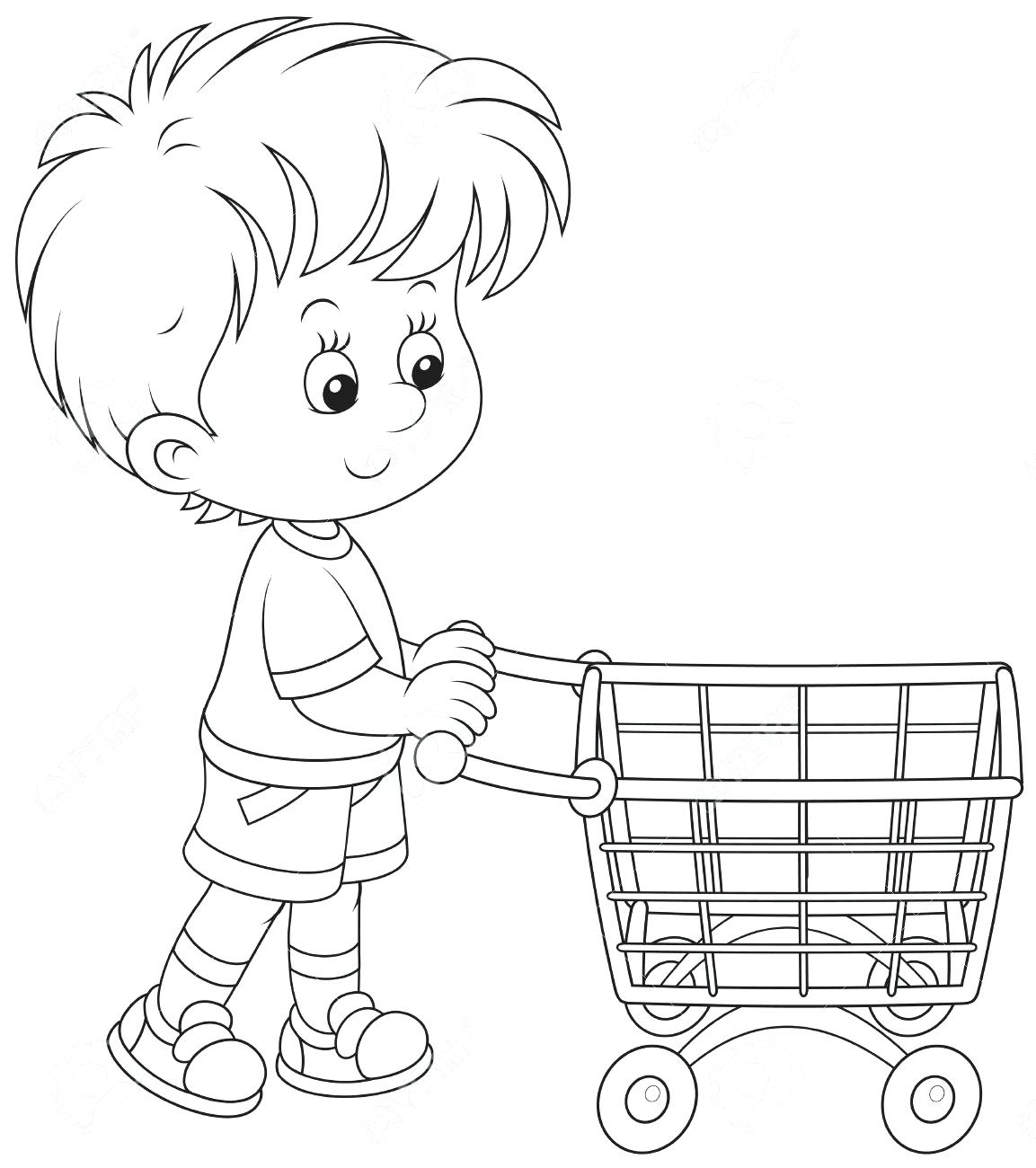 1153x1300 Shopping Cart Coloring Page