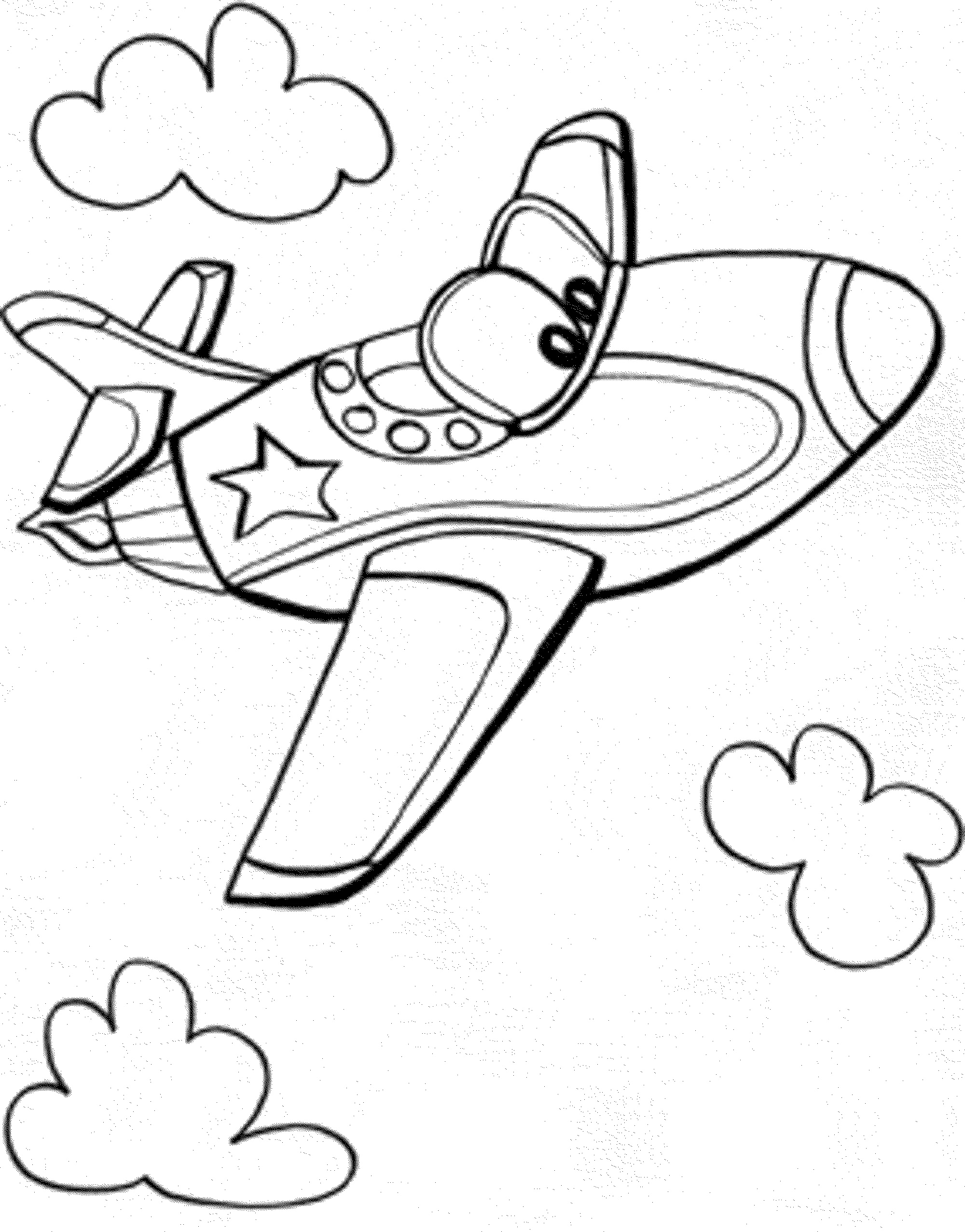Cartoon Airplane Coloring Pages At Getdrawings Com Free For