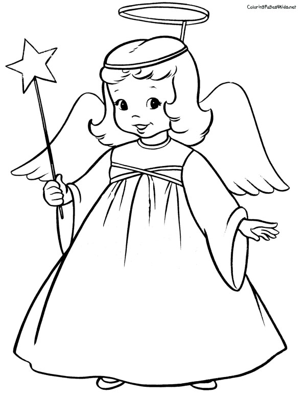 Cartoon Angel Coloring Pages