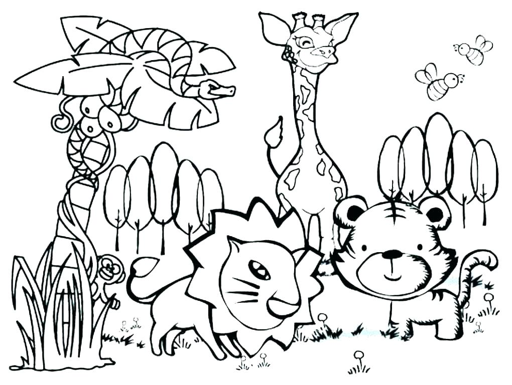 1020x768 Wild Animal Coloring Pages Icontent