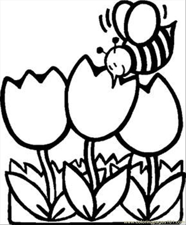 650x787 Busy Bee Tulips Rdax Coloring Page