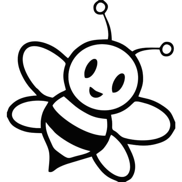 600x600 Cartoon Bee Coloring Page Free Printable Pages Colors