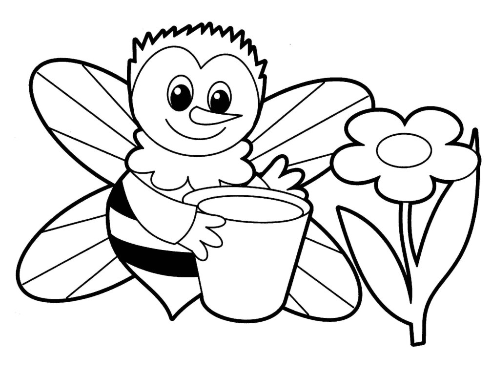 1008x768 Cartoon Bee Coloring Pages Page Image Clipart Images