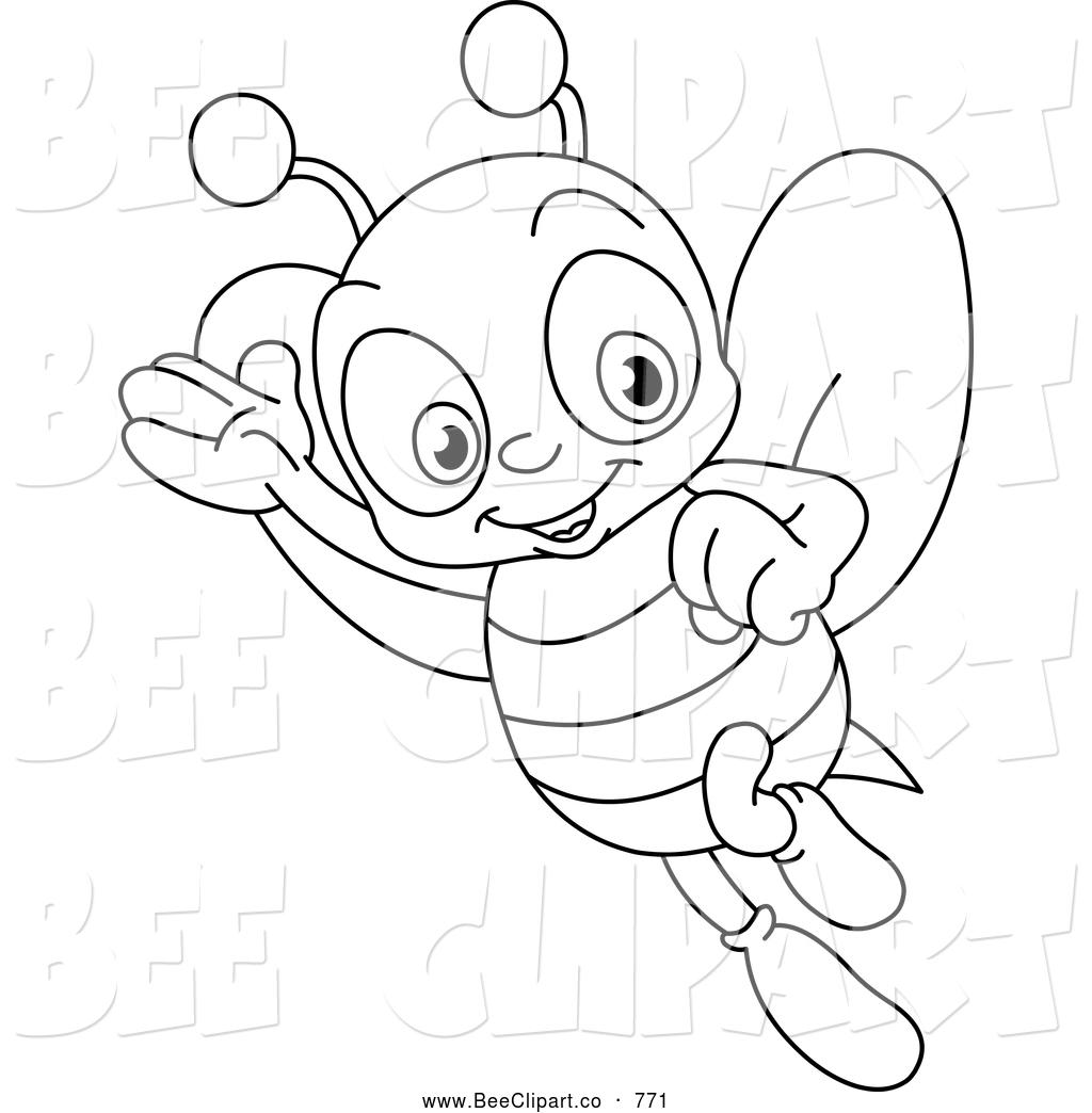 1024x1044 Cartoon Vector Clip Art Of A Coloring Page Of A Happy Bee
