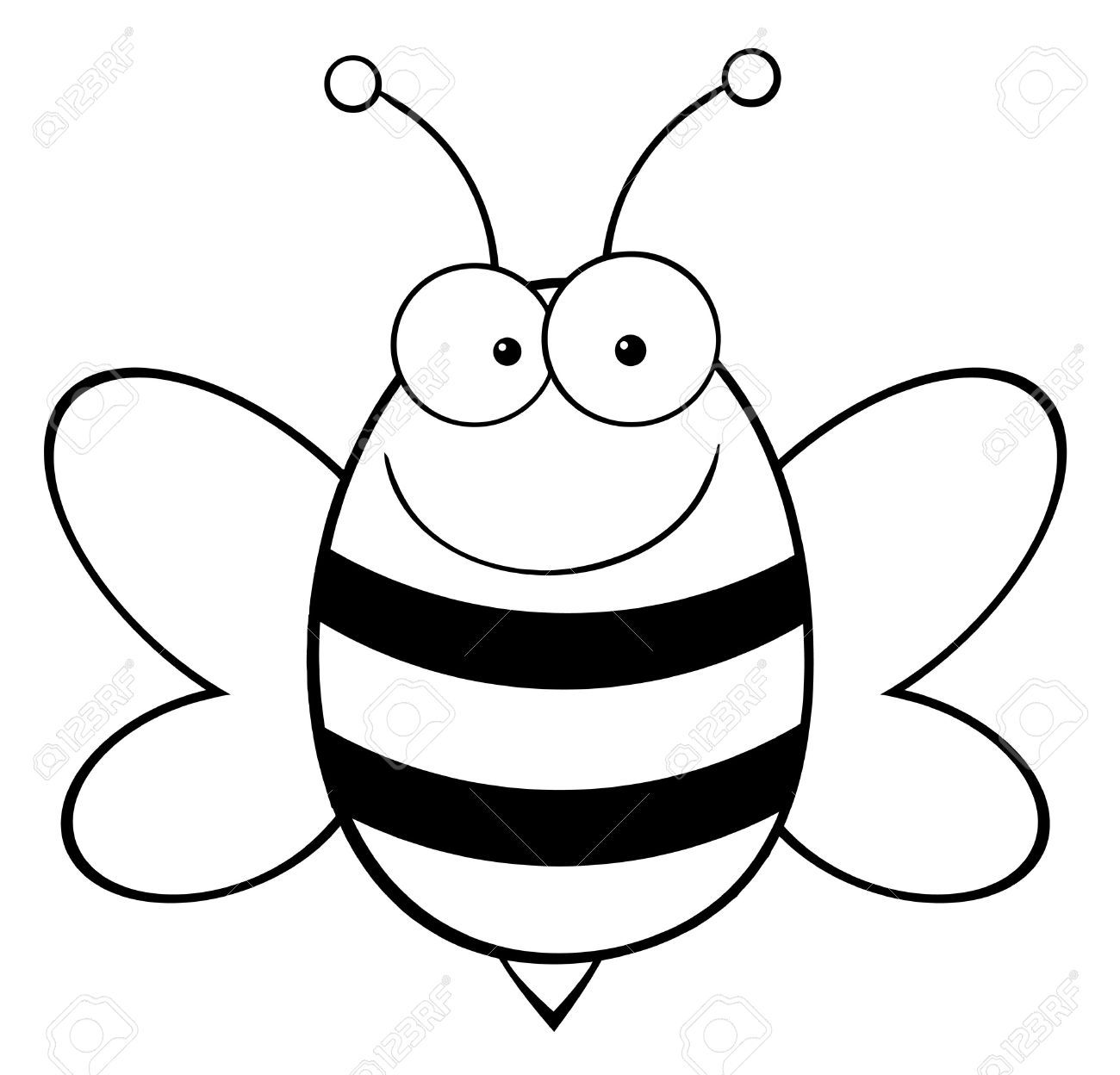 1300x1248 Outlined Bee Mascot Cartoon Character Stock Vector