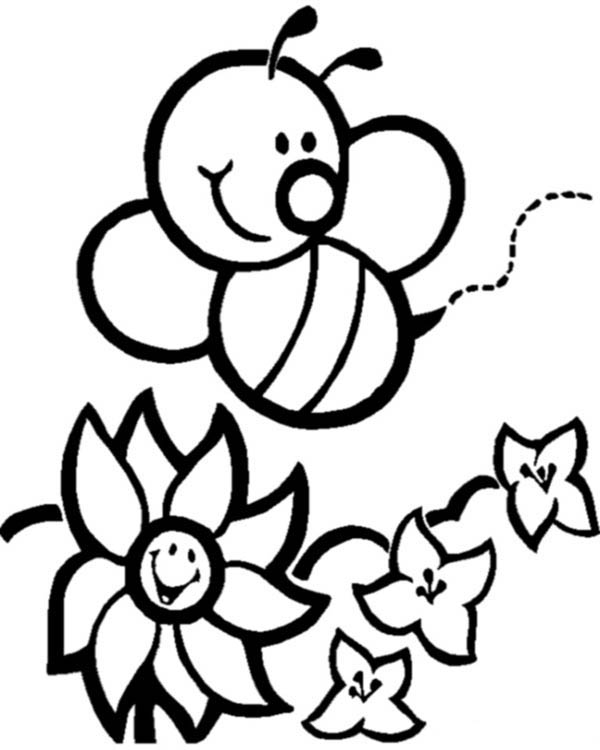 600x750 Survival Bumble Bee Coloring Page Happy Bumblebee And Flowers