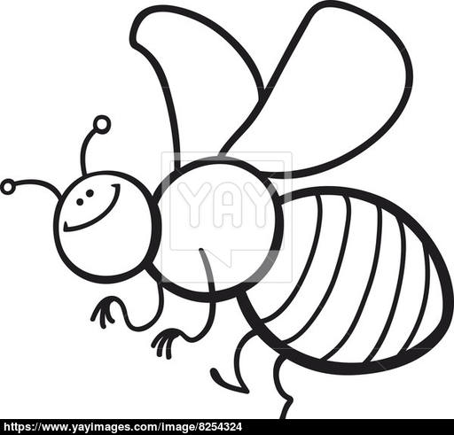 512x491 Cartoon Bee Coloring Page Image