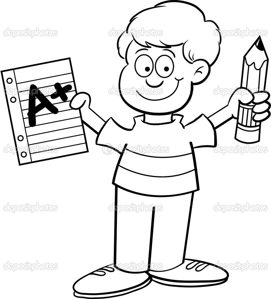 925x1023 Cartoon Illustration Of A Boy Holding A Paper And A Pencil