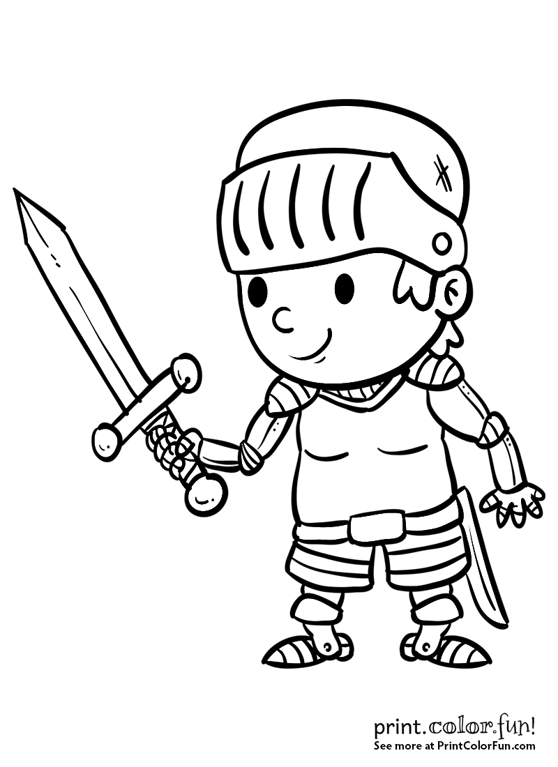 800x1100 Cartoon Boy Knight With A Sword Coloring Page