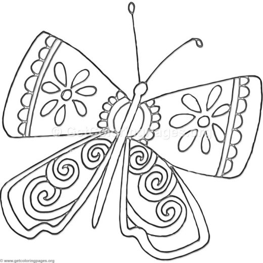 520x520 Cartoon Butterfly Coloring Pages