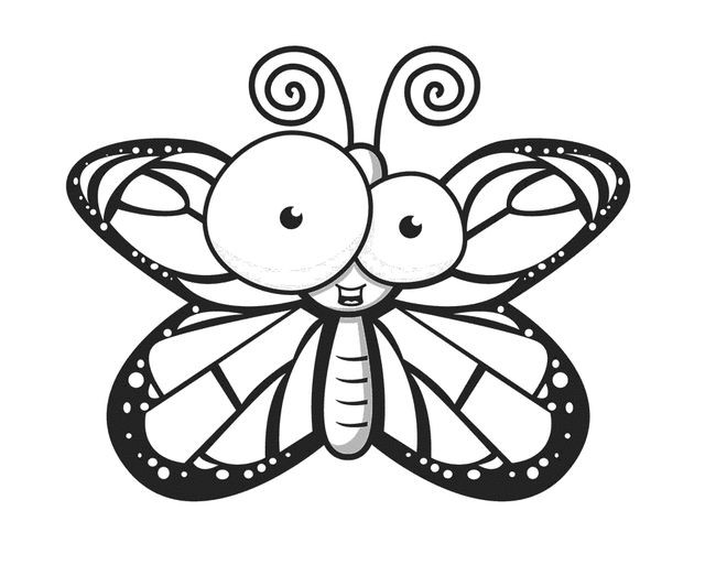 640x513 Cartoon Butterflies Coloring Pages