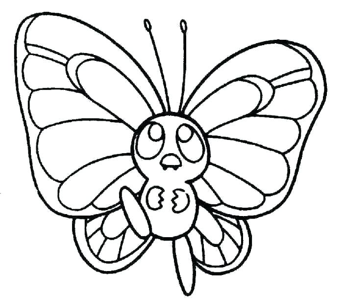 704x611 Cartoon Butterflies Coloring Pages Butterfly Cute Page Ideas Color