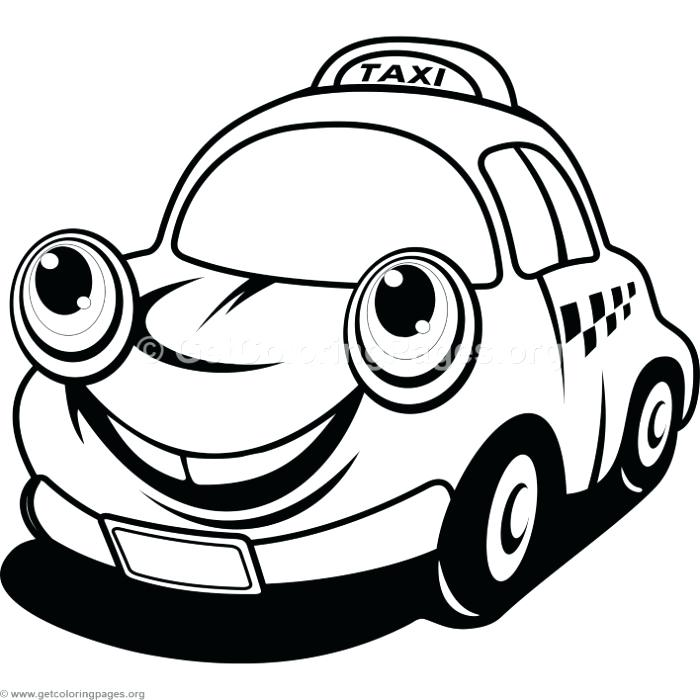 700x700 Cartoon Car Coloring Pages Cute Cartoon Taxi Car Coloring Pages