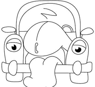 400x369 Cartoon Car Grieve Coloring Page