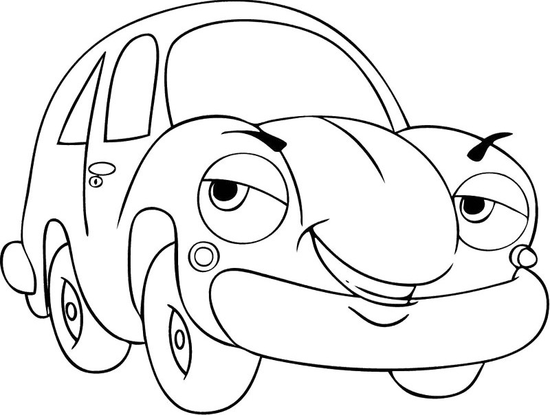 800x604 Cartoon Car Smile Coloring Pages