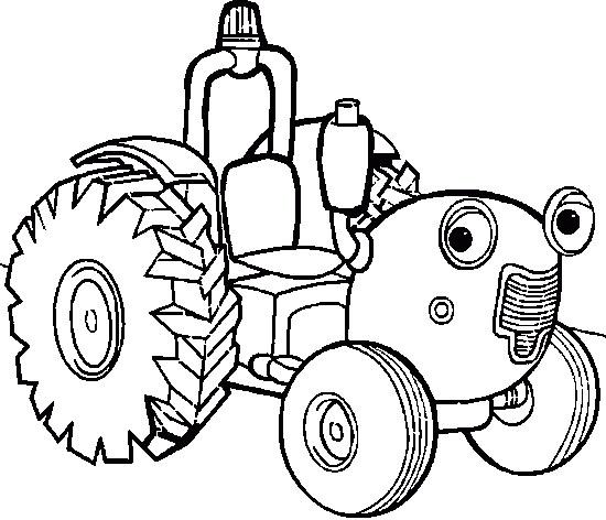 550x472 Cartoon Car Tractor Coloring Page