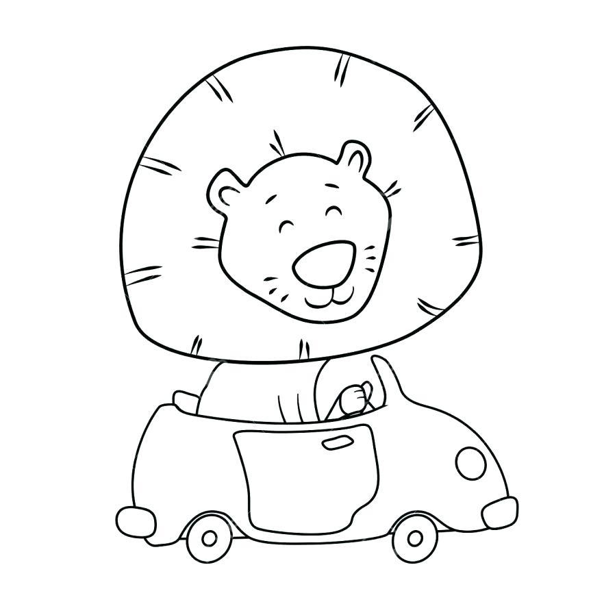 863x863 Printable Cartoon Coloring Pages Cute Cartoon Lion Driving A Car