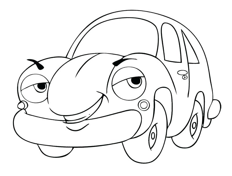 800x606 Cartoon Car Coloring Pages Cartoon Car Smile Coloring Page Police